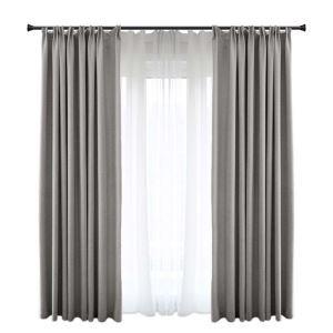 Moderner Vorhang Uni aus Polyester und Leinen für Schlafzimmer Grau