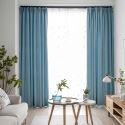 Moderner Vorhang Uni aus Baumwolle und Leinen für Schlafzimmer Blau