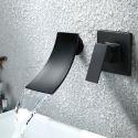 Duscharmatur für Badewanne Wandmontage in Schwarz