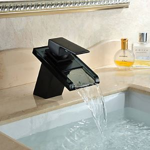 Waschtischarmatur Wasserfall aus Glas Einhand für Badezimmer