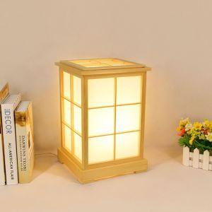 Tischleuchte Anmutige Nachttischlampe Eckig aus Holz 1 flammig