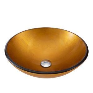 Waschbecken Glas Rund mit Ablaufgarnitur ohne Wasserhahn