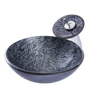 Glas Waschbecken Set mit Wasserhahn Marmor Design in Rund