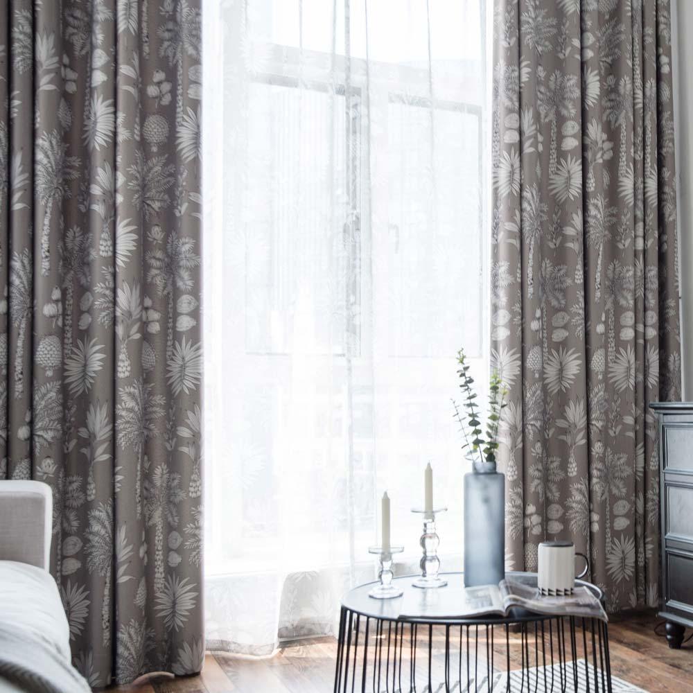 Landhaus Vorhang Blatt Muster aus Polyester für Wohnzimmer