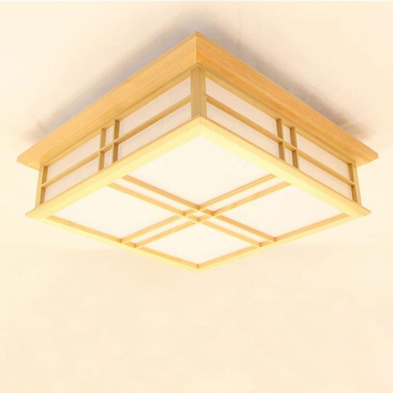 Moderne Deckenleuchte led aus Holz eckig für Wohnzimmer