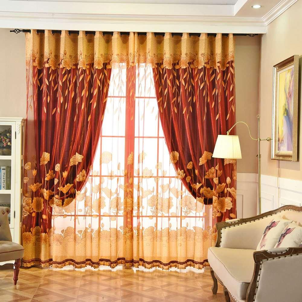 Landhaus Gardine Gelb Jacquard Lotus im Wohnzimmer
