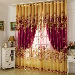 Luxus Jacquard Gardine Gelb Pfingstrosen im Wohnzimmer