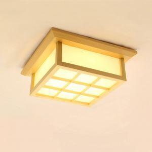 Japanische Stil LED Deckenleuchte aus Holz und Acrylic Minimalismus