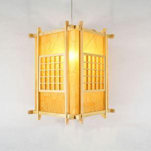Japanische Stil Pendellampe Laternen-förmige aus Holz und Acrylic