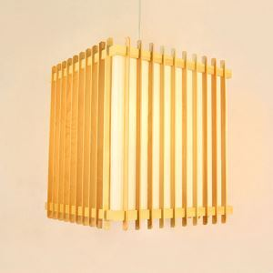 Pendellampe Zaun Design aus Holz und Acrylic