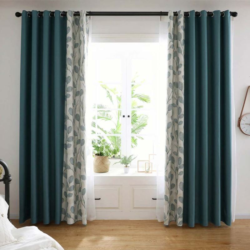 Minimalismus Vorhang Grün mit Blatt Muster für Schlafzimmer