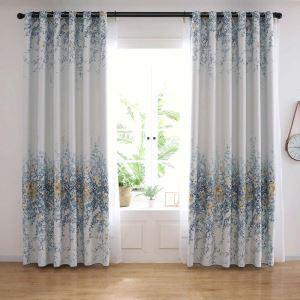 Landhausstil Vorhang Blumenmuster aus Polyesterfaser für Schlafzimmer