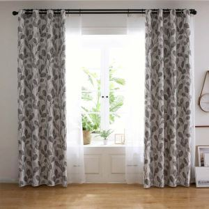 Minimalismus Vorhang mit grauem Blatt aus Polyestergewebe für Wohnzimmer