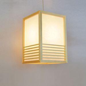 Japanische Stil Pendellampe Horizontale streifen aus Holz und Acrylic