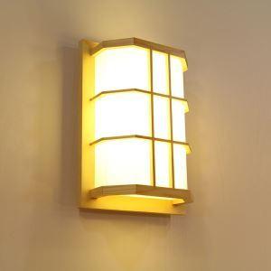 Japanische LED Wandleuchte aus Holz und Acrylic