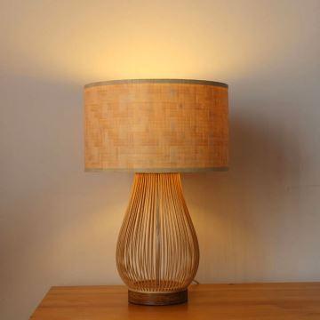 Minimalismus Tischleuchte aus Bambus für Schlafzimmer
