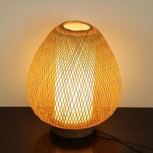 Japanische Tischlampe Oval aus Bambus handgemacht