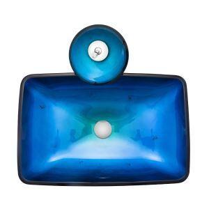 (EU Lager) Glas Waschbecken Eckig mit Wasserfall Armatur Blau