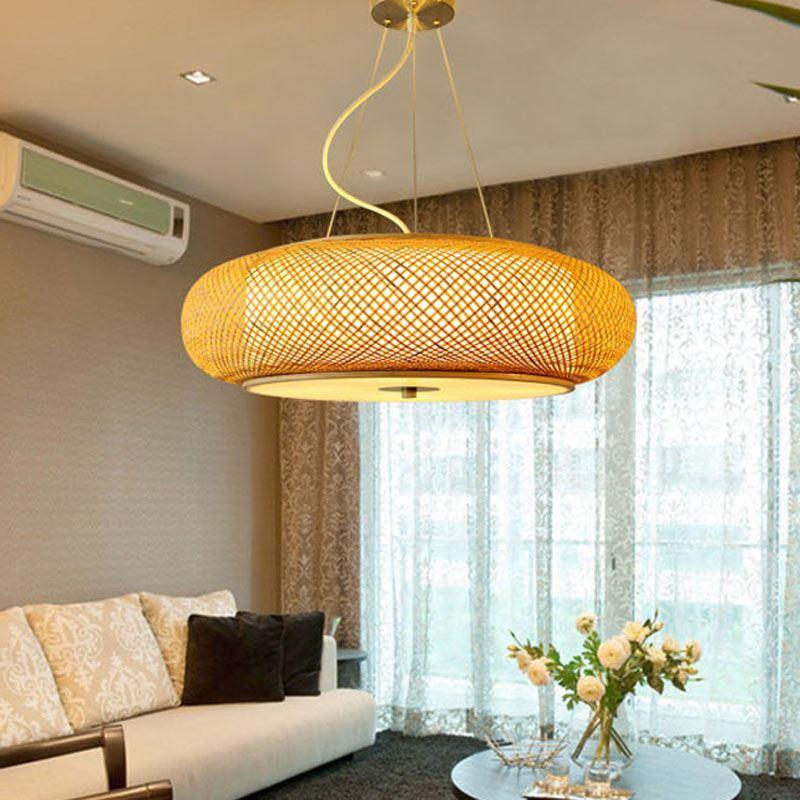 Minimalismus Hängelampe rund aus Bambus handgemacht für Wohnzimmer