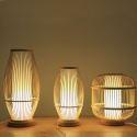 Tischleuchte Nachttischlampe Laterne Design aus Holz 1 flammig