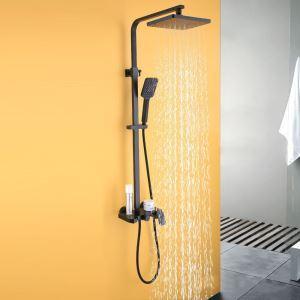 Duschsystem Aufputz Regenfall aus Edelstahl in Schwarz