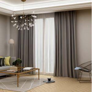 Moderer Vorhang Uni aus Imitiertes Seidengewebe für Schlafzimmer Grau