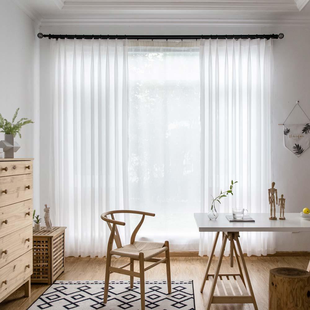 Moderne Gardinen Weiß aus Chiffon für Wohnzimmer Transparent