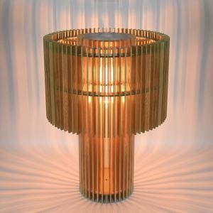 Tischleuchte Holz Vintage Schnittdesign 3D Effekt im Wohnzimmer-Originell Design