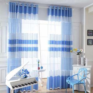 Minimalismus Gardine Streifen Warp Knitted für Wohnzimmer Blau