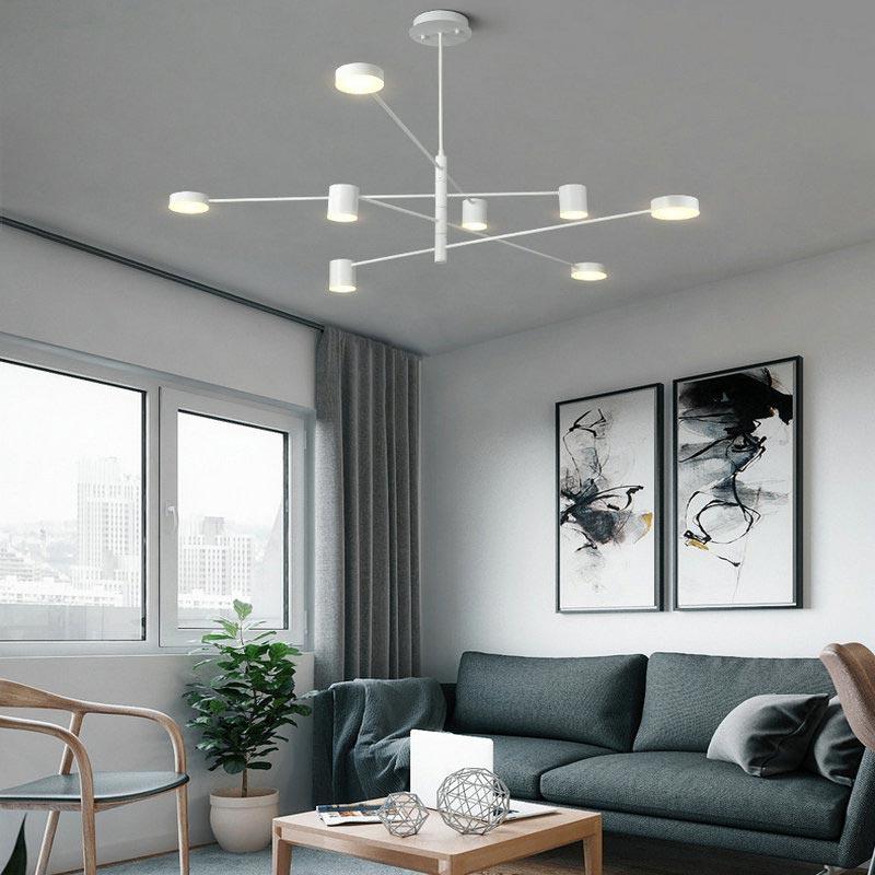 Moderne LED Hängeleuchte in Schwarz/ Weiß/ Gold für Wohnzimmer