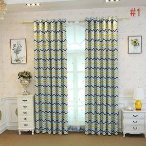 Blickdichter Vorhang Wellen Muster aus Polyester für Wohnzimmer