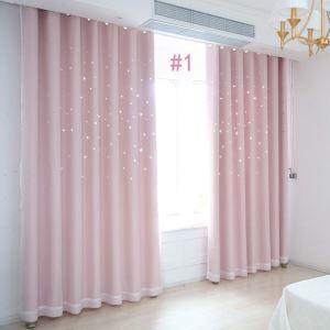 Minimalismus Vorhang Hohle Sterne Design mit Gaze Stoff für Schlafzimmer