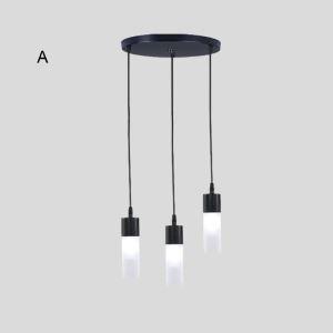 Moderne LED Pendellampe 3 flammig in schwarz aus Eisen und Acryl