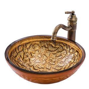 Waschbecken Glas Rund in Gold für Badezimmer