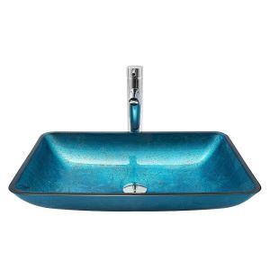 Waschbecken Glas Eckig Modern in Blau