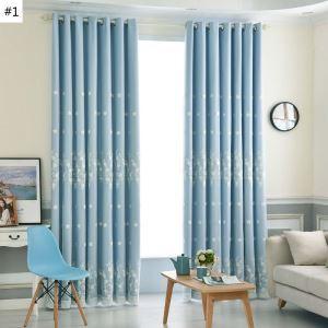 Moderner Vorhang mit Gesticktes Garn Uni für Schlafzimmer