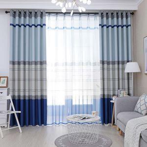 Nordischer Vorhang Blau Streifen aus Polyester Mittelmeer Stil