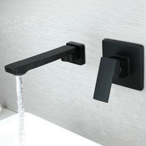 Waschtischarmatur Einhebelmischer Wandmontage in Schwarz
