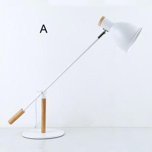 Kreative Tischlampe Weiß aus Eisen und Holz für Lesezimmer