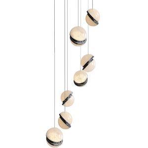 Moderne LED Pendelleuchte 2 Halbkugelförmig für Treppenhaus