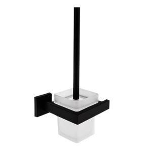 WC Bürstengarnitur Wandmontage aus Messing in Schwarz