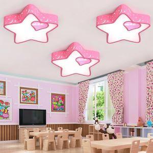 Cartoon LED Deckenleuchte Sterne und Mond Rosa für Kinderzimmer