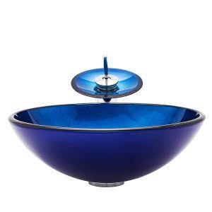 Glas Waschbecken Set Rund mit Wasserfall Wasserhahn Blau Mittelmeer Serie