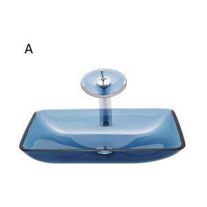 Waschbecken Set Glas Eckig mit Wasserfall Wasserhahn Mittelmeer Serie