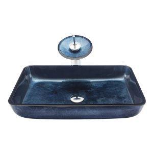 Glas Waschbecken Set Eckig mit Wasserfall Wasserhahn Dunkelblau