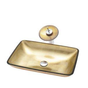 Glas Waschbecken Set Eckig mit Wasserfall Wasserhahn Golden