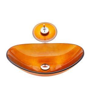 Modern Waschbecken Glas Oval mit Wasserfall Wasserhahn
