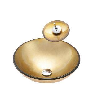 Glas Waschbecken Set Rund mit Wasserfall Wasserhahn Golden