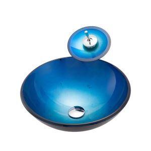 Glas Waschbecken Set Blau Rund mit Wasserfall Wasserhahn Mittelmeer Serie