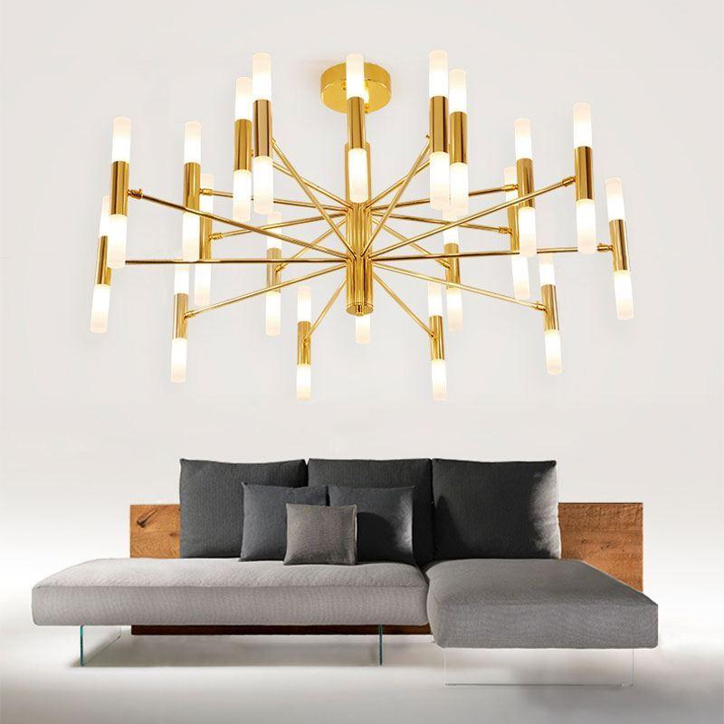Led Deckenleuchte Stilvoll aus Metall in Schwarz/Gold für Wohnzimmer
